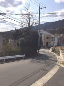 桜ヶ丘山手 建築条件なし土地分譲地 53号地 前面道路の様子